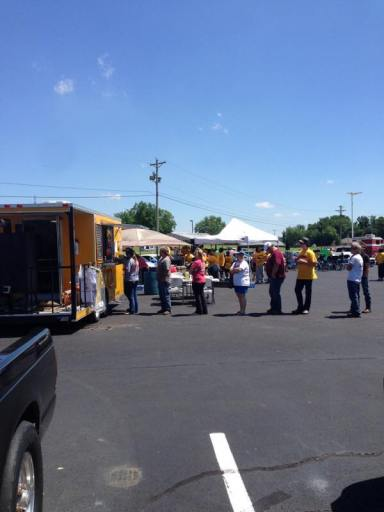 MidSouth BBQ Yellow Trailer Covington TN Tipton County Bayird Car Show May 2017 Good Food Good Cause
