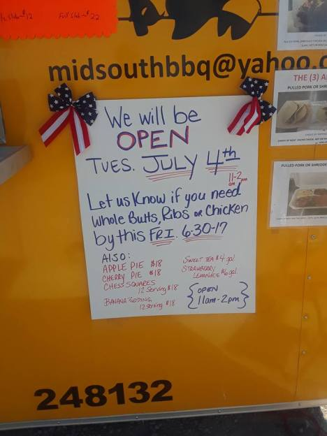 Midsouth BBQ 4th of July Pickup